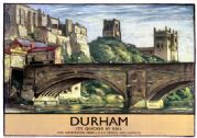 Durham Castle & Cathedral. LNER Vintage Railway Travel poster by Sydney Lee. 1935